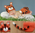 Newborn Cute Kintted Handmade Crochet Baby Photography Props Newborn Tiger Hat and diaper cover Set Infant Animal Beanie Hats