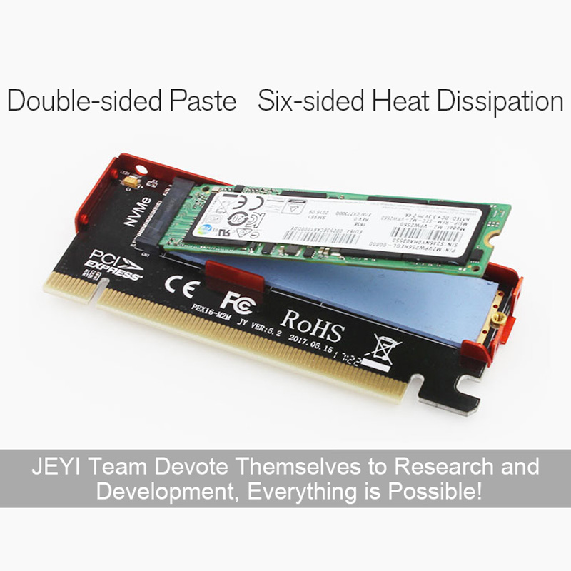 JEYI Cool Swift NVME M.2 X16 PCI-E Dust-proof Riser Card 2280 Aluminum Sheet Gold Bar Thermal Conductivity Silicon Wafer Cooling