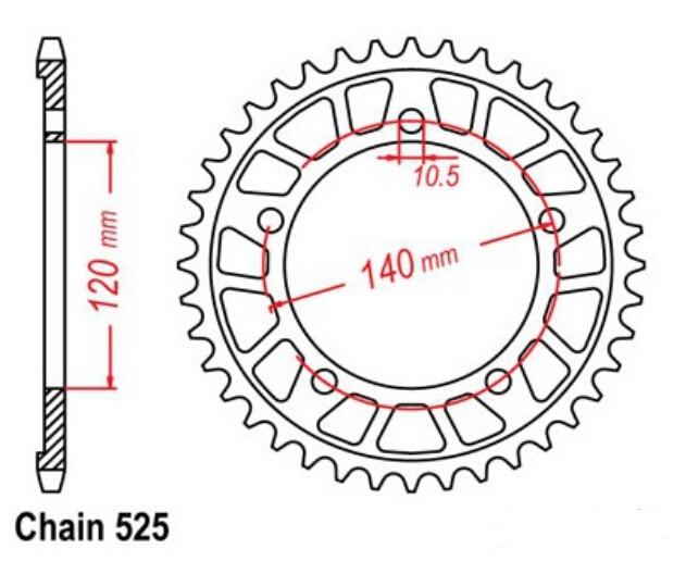 LOPOR LOPOR 525 * 45T visokokvalitetni stražnji lančanici prikladni - Pribor i dijelovi za motocikle - Foto 2