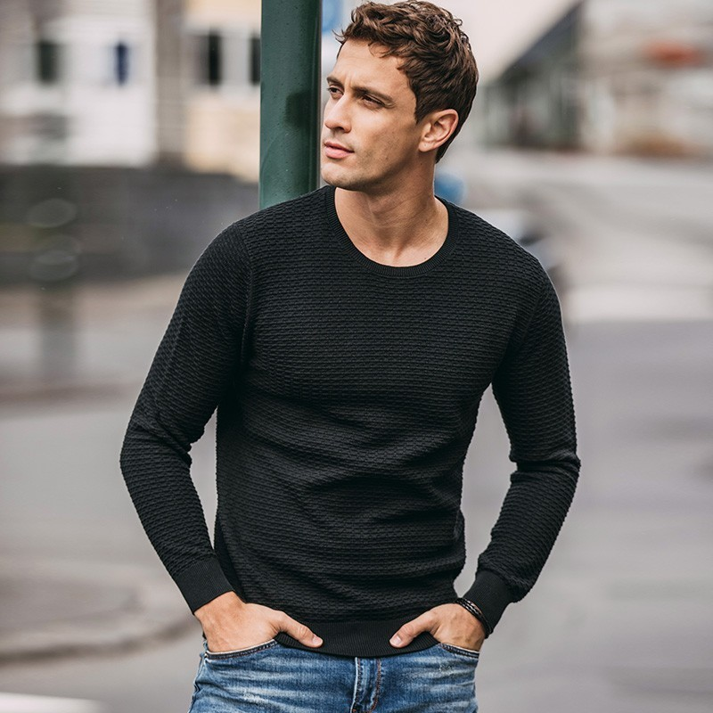 Autumn Men Sweater 100% Cotton Solid Beige Black Color Pullovers For Man Casual Slim Clothes 2019 Male Wear Knitwear Tops 17039