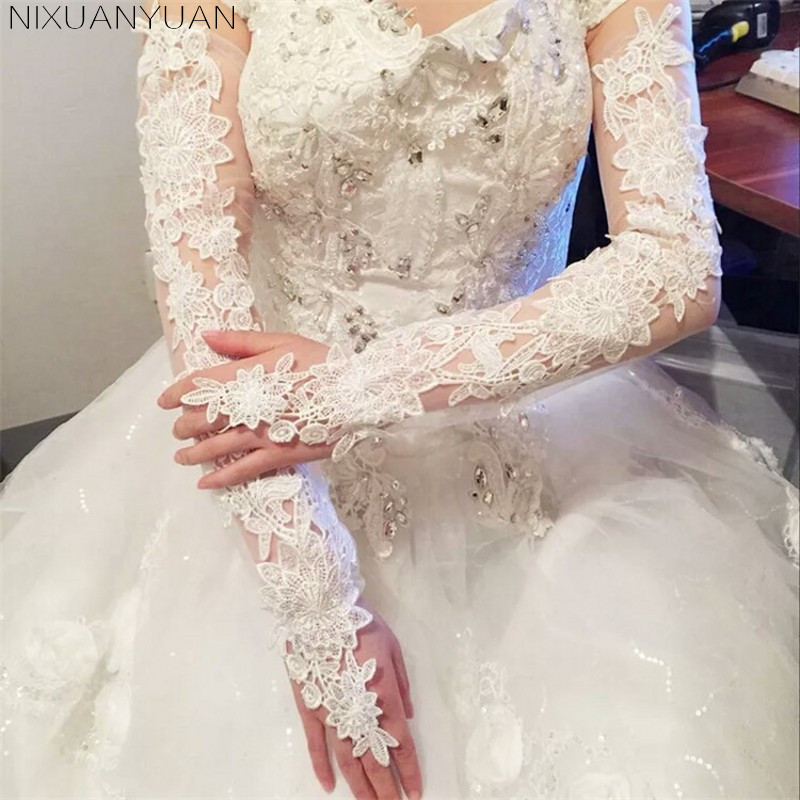 Bride Hollow Lace Wedding Gloves Lengthened Bridal Gloves Red White Ivory Fingerless Long Wedding Accessories 2019