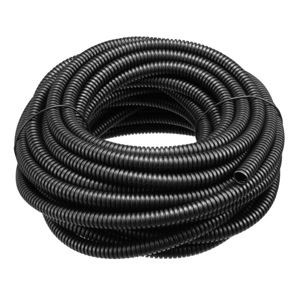 Uxcell Black 1pcs 4.5/10/7/11/6m Length 5.2/6mm Inner Diameter PP Polyethylene Corrugated Conduit Flexible Pipe Hose