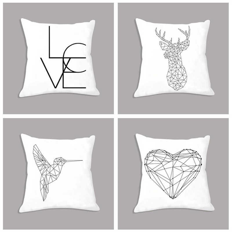 Nordic Fronha Geometria Abstrata Coração Veados Impresso Assento Branco Capa de Almofada Decorativa para Sofá Home Decor