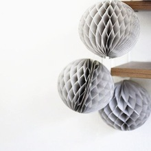 3pcs Grey 20cm Tissue Paper Honeycomb Ball Crafts Balloons Birthday Wedding Showers Aniverssay Hangling Decor