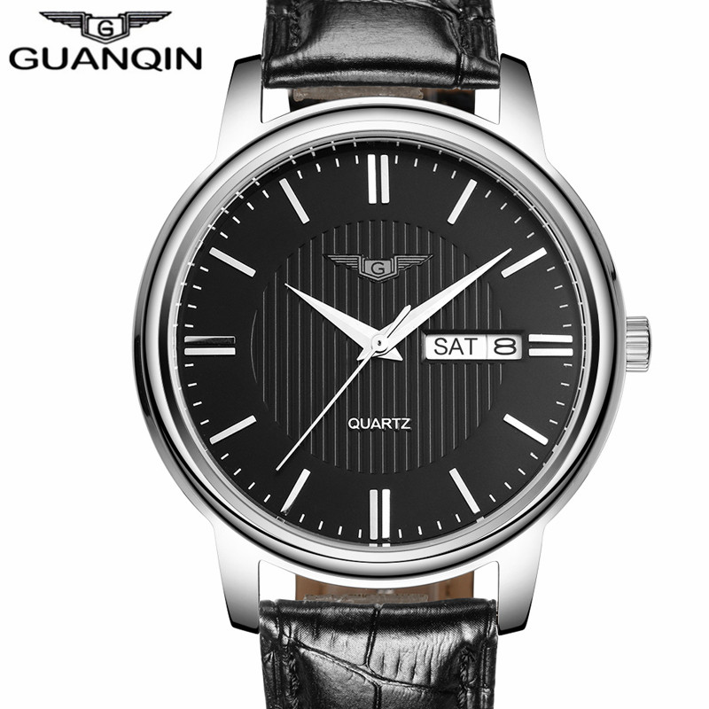NEW GUANQIN Mens Watches Casual Date Week Quartz Watch Leather Strap Clock Men Wristwatch relogios masculino New Year Gifts nary fashion watch leather strap men s watches quartz clock womens watch double calendar with date week lovers casual wristwatch