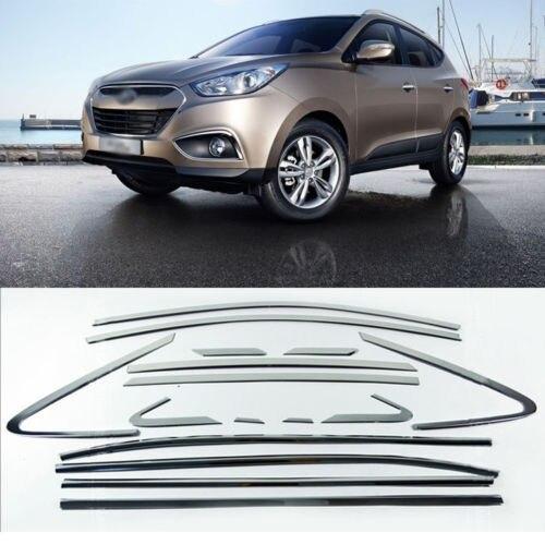 Savanini 16pcs T304 Stainless Steel Window Molding Sill Trim Decoration For Hyundai ix35