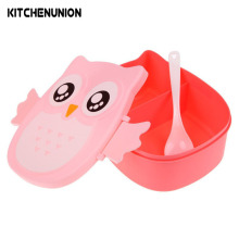 900ml Cartoon Owl Lunch Box Bento Box Food Fruit Storage Container Portable Dinner Box U0290