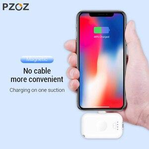 Image 2 - PZOZ Magnetische Power Bank 1200 mAh Externe Batterij Oplader Magneet mini PowerBank Li polymeer Batterij Voor iphone Micro usb type c