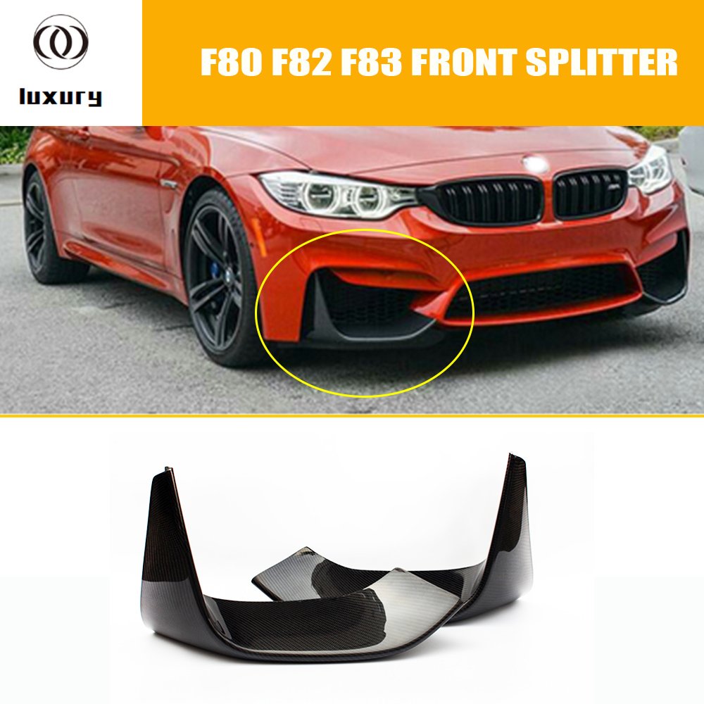 M3 M4 Carbon Fiber Front Bumper Side Lip Splitter Apron Spoiler for BMW F80 M3 F82 F83 M4 Bumper Only 2012 - 2017