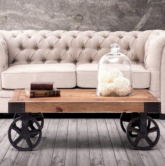 Классическая мода дерева и железа стол, металлическая мебель, четыре колеса, 100% массива дерева обеденный стол, подвижные мебель для гостино...