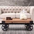Классической моды дерева и железа стол, металлическая мебель, четыре колеса, 100% массива дерева обеденный стол, движимое мебель для гостиной