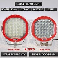 320 w 9 inch Czerwony okrągły led jazdy światła Czarny odprowadzana światła drogowego 320 W led work light dla ATV UTV SUV 4WD 4X4 Światła Zewnętrzne x2pc