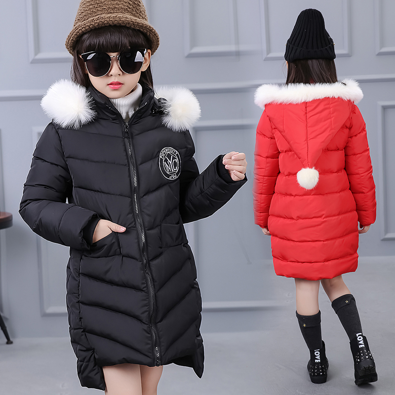 New Arrival 2017 girls winter coat warm thick children clothing long parka baby girls down coat padded jacket brand boutique
