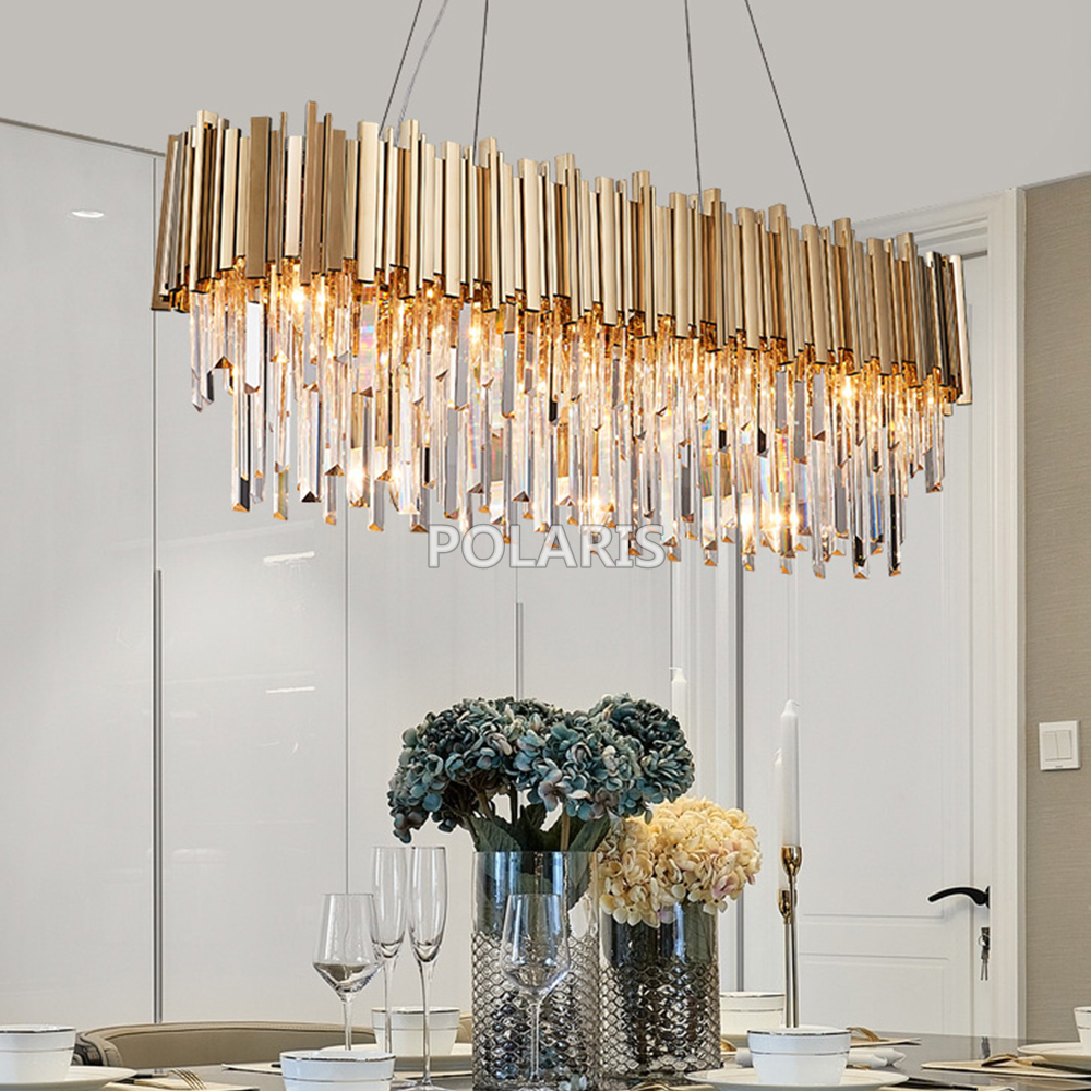 Modern Oval Crystal Chandelier Lighting Fixture Luxury Contemporary Chandeliers Pendant Hanging Light for Home Restaurant Decor new simple clear crystal pendant light led hanging lampsindoor light home for home decor restaurant luminarias ce fcc vallkin
