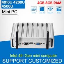 Мини-ПК Intel Core i7 4500U i5 4200U i3 4010U Окна 10/8/7 мини-компьютер без вентилятора неттоп HD Графика 4400 HTPC Бесплатный Wi-Fi