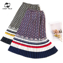 European and American retro printed skirt spring summer bottoming Accordion pleated floral long A-line