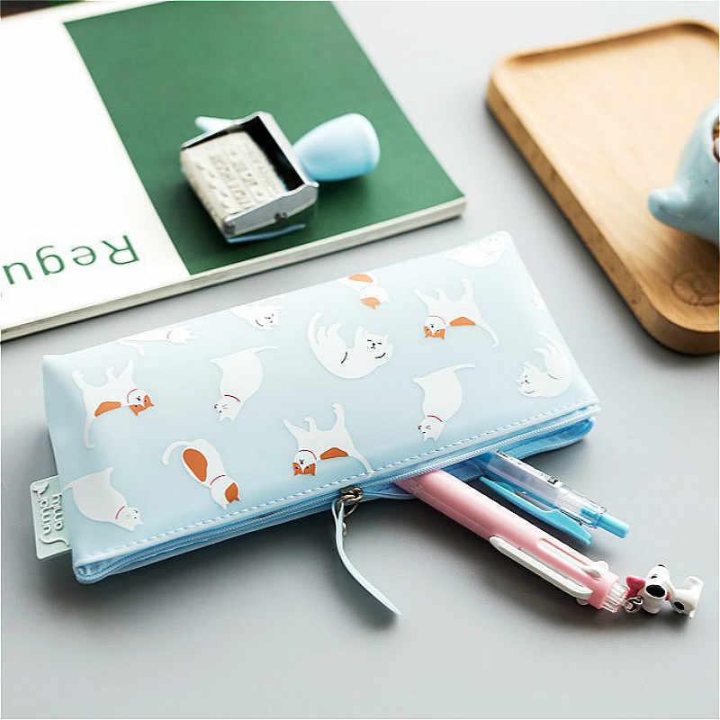 1 Pcs/Vender Geléia Silicone Gato PencilsBags Durável Grande Capacidade de Caixa de Lápis Menina Kawaii Material Escolar Papelaria Caneta De Armazenamento