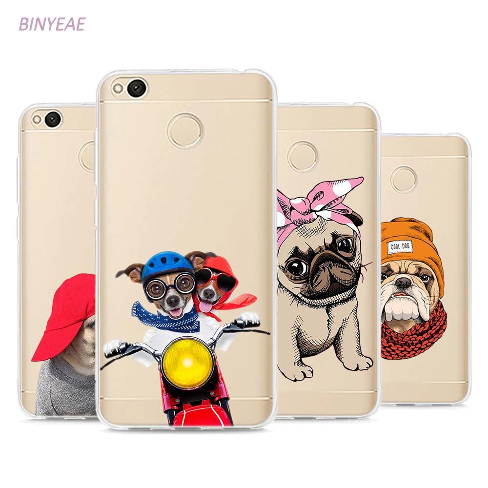 BINYEAE Pug Dog French Bulldog Puppy Style TPU Soft Phone Case Cover for Xiaomi Mi Redmi Note A1 3 4 4X 4A 5A 5 Plus