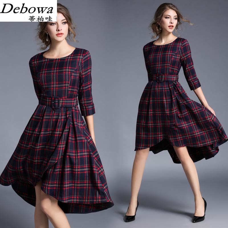 Debowa mode Plaid longue robe femmes 2017 nouvelle robe de printemps 3/4 manches o-cou femmes robes belle marque européenne robe