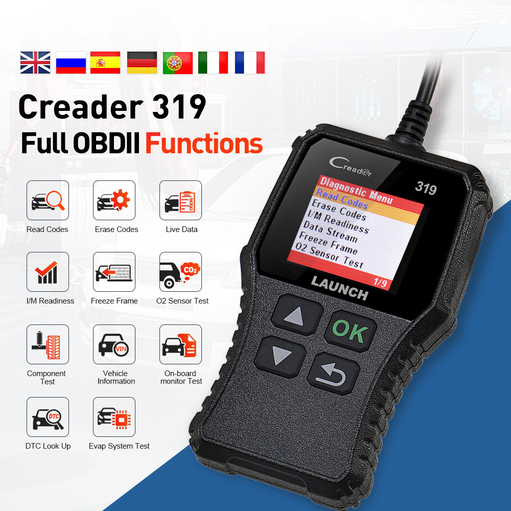 LAUNCH X431 Creader 319 CR319 Full OBD2 OBDII Code Reader Scan Tools OBD 2 Car Diagnostic tool Scanner