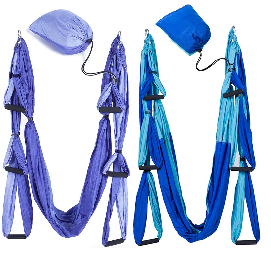 Hamac de yoga de remise en forme balançoire de yoga Anti-gravité Aérienne Bretelles Haute Résistance Tissu De Décompression Avec 6 Grip Main Entrepôt