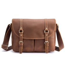 купить Men's Messenger Bag Genuine Crazy Horse Leather Shoulder Cross body Bag Men Vintage Briefcase for Business Travel Luxury Handbag по цене 3907.22 рублей