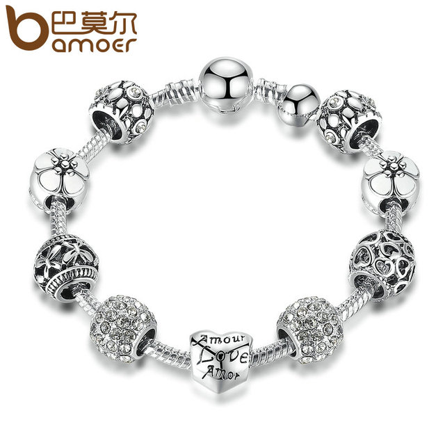 BAMOER Antique Silver Charm Bracelet & Bangle with Love and Flower Beads Women Wedding Jewelry 4 Colors 18CM 20CM 21CM PA1455 3