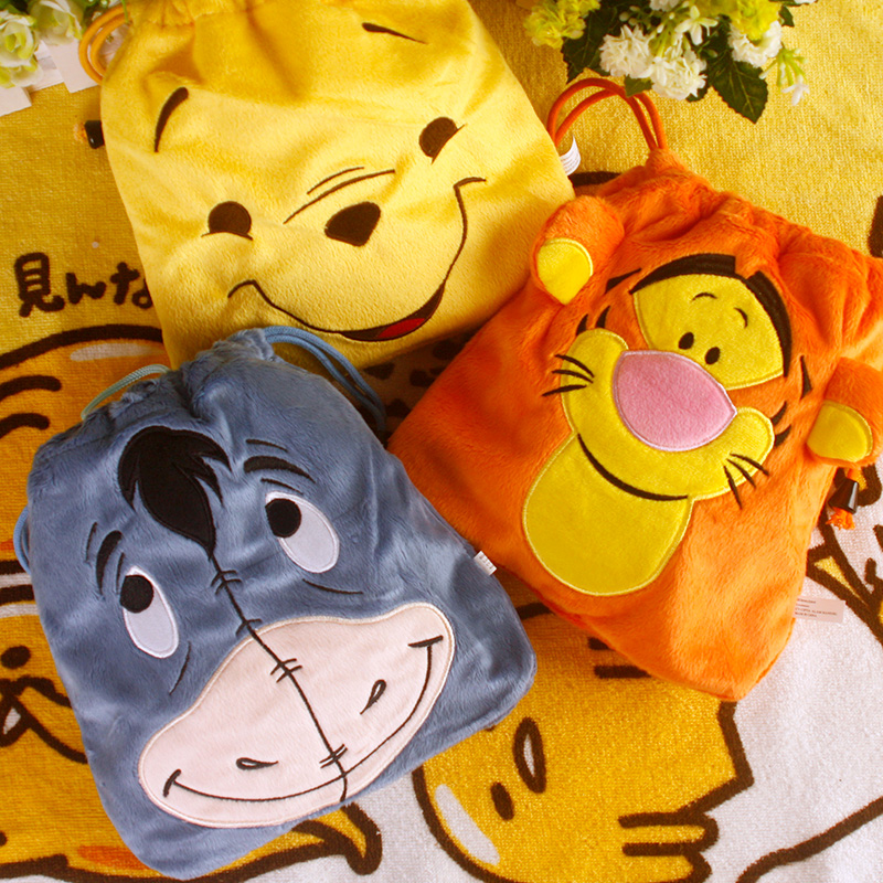 IVYYE 1PCS Tigger Donkey Cartoon Drawstring Bags Cute Plush Storage Handbags Makeup Bag Coin Bundle Pocket Purse NEW