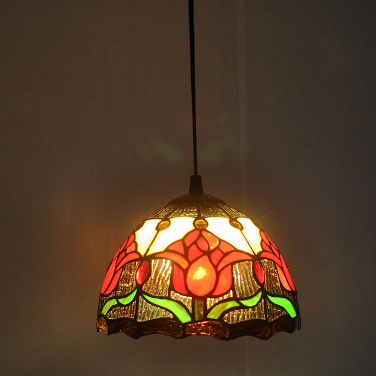 20CM American tulip small chandelier Tiffany nostalgic antique sink with glass windows a ...