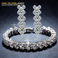 Chegada nova marca de luxo de jóias com cristal pulseira e brincos conjunto de jóias para mulheres S1068