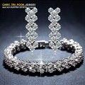 Recién llegado de lujo marca joyería de la boda establece con vintage de cristal pulsera y aretes de joyería para para S1068