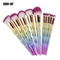 10 Unid Pinceles de Maquillaje Mango De Plástico Rainbow Glitter Cosmética Sombra de Ojos del Labio de la Ceja Del Pelo Sintético Mezclado con Polvo de la Fundación