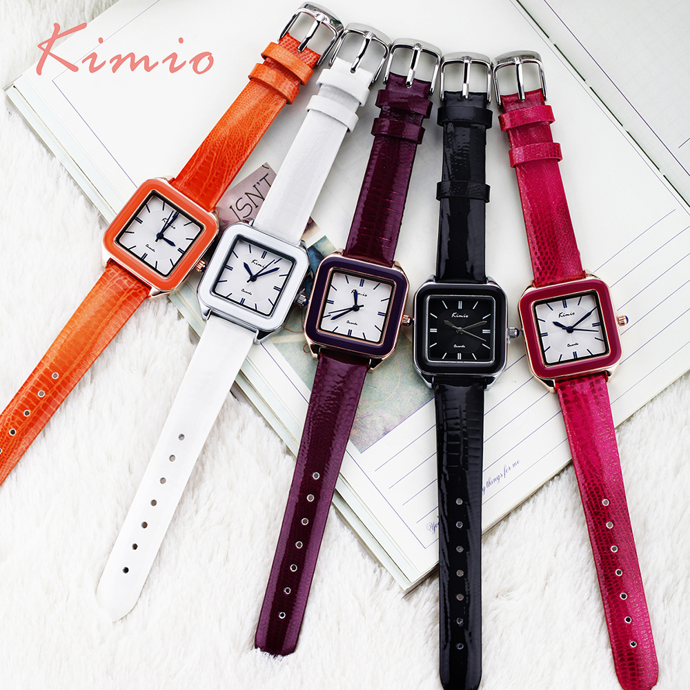KIMIO Ladies Fashion Bright Color Square Dial Luxury Brand Women 39 s Watches Leather Female Watches Women Wrist Watch For Women in Women 39 s Watches from Watches
