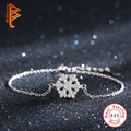 Authentic 100% 925 Sterling Silver Bracelet for Women Austrian Crystal Snowflake Charm Bracelet Bangle Friendship Jewelry