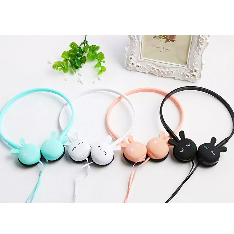 Wire Headphones Cute Cartoon Rabbit Candy Colour 3.5mm Stereo Headphone with Mic for Samsung Xiaomi mp3 Kids Student Birthday Gifts (2)