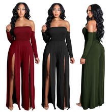 Nightclub Overalls Female Rompers Slim Playsuit Side split Long Sleeve Bodysuits For Women Striped evening party Women Jumpsuits(China)