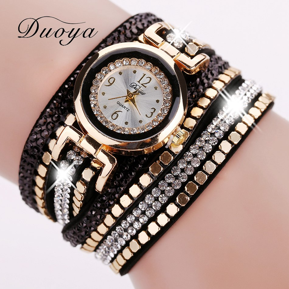 Duoya Brand Fashion Women Bracelet Watch Leather Luxury Women Crystal Wrist Watch Quartz Watch Gold  Rhinestone Wristwatch luxury women rhinestone bangle crystal flower bracelet quartz wrist watch men fashion sale hot style selling