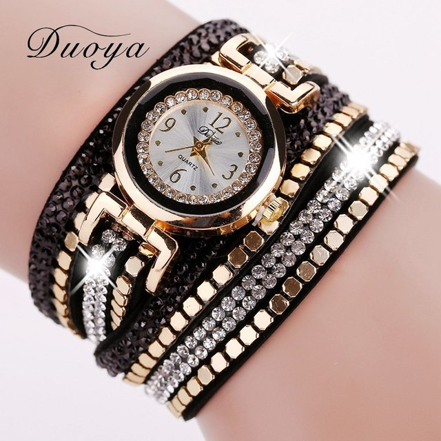 Duoya Brand Fashion Women Bracelet Watch Leather Luxury Women Crystal Wrist Watc