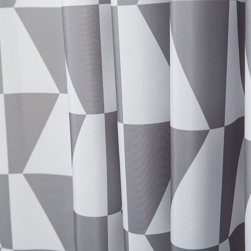 Memory Home Simple Style Gray Small Triangles Pattern Waterproof Polyester Fabric Bathroom Geometric Shower Curtain White In Curtains From