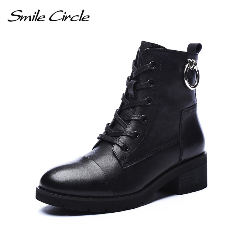Smile Circle Handmade Cow Leather Short Boots Women Black Round Toe Lace-Up Shoes Botas Short Plush Warm Winter High heels Boots new women boots 2017 high heels ankle boots platform shoes lace up short boots round toe motorcycle boots winter botas mujer