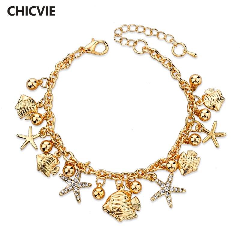 38559e65e4de Chicvie imitación Lock flor encanto pulseras con piedras para las mujeres  de oro pulsera de la aleación de la joyería al por mayor pulseras SBR150206