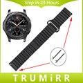22mm faixa de relógio de couro genuíno cinta de fecho magnético para samsung gear s3 clássico fronteira cinto de liberação rápida pulseira azul