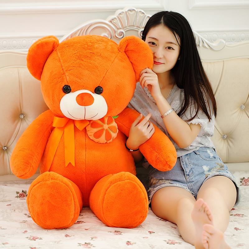 big new plush orange teddy bear toy stuffed orange bear doll pillow about 115cm huge creative plush cockroach toy big simulation cockroach pillow doll gift about 115cm 2694