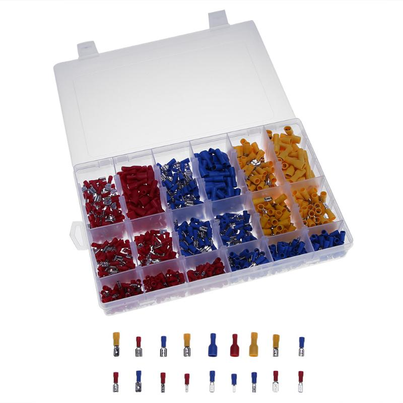 900pcs/Box Crimp Terminals Insulated Bootlace Ferrules Kit Wire Crimp Connector Set 3 colors Terminal wholesal e1008 insulated cable cord end bootlace ferrule terminals tubular wire connector for 1 0mm2 wire 1000pcs