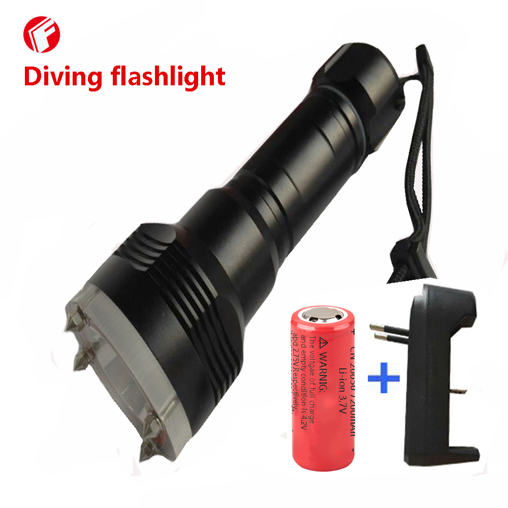 Diving Flashlight led rechargeable 26650 battery cree xm-l2 light Outdoor Self defense Diving Lighting lamp flashlight led cree xm l2 light 3800 lumens 26650 battery outdoor camping telescopic zoom self defense powerful led flashlight