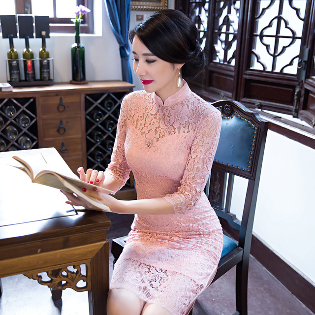 Fengmeisi New Chinese Cheongsam Long Qipao Lace Pink Vintage Oriental Sexy Dresses Women Tradicional Party Weeding