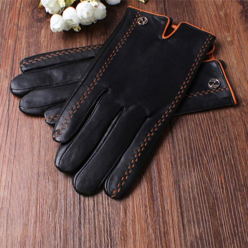 Mode hommes gants en cuir véritable hommes gants automne Plus velours chaud noir gants Nappa peau de mouton mâle mitaines livraison gratuite - 5