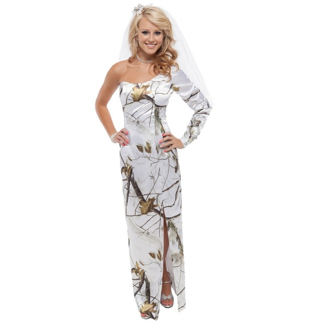 strapless printing realtree one sleeve snow white camo wedding party prom  dresses 2017 new styles custom make size 0 c703a528ac6c