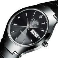 AESOP Diamond cutting Sapphire Crystal Ceramic Watch Men top brand luxury Quartz Male Clock Relogio Masculino black 2018 new