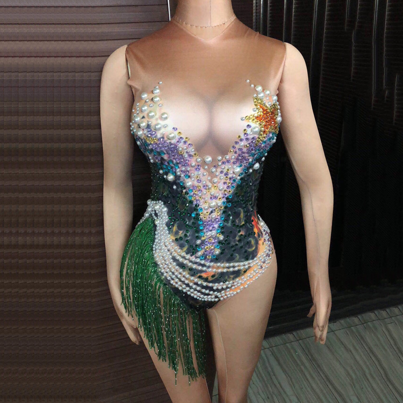 Novelty & Special Use Sparkly Rhinestone Pearl Ocean Style Big Stretch Jumpsuit Female Singer Nightclub Celebrate Performance Stage Wear Dj385 Supplement The Vital Energy And Nourish Yin